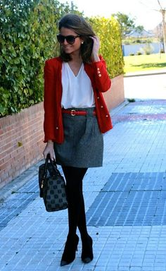 layered office outfit for fall