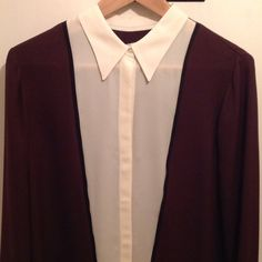 A.L.C. silk tunic blouse maroon cream black trim 100% silk ALC tunic blouse long sleeve maroon cream black hidden button placket, all one piece. Length covers your bottom. Bought from Totokaelo, worn only once. Excellent condition. No damage. oversize fit. Runs large IMO. Deeply Discounted already. A.L.C. Tops Blouses