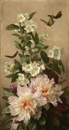 Paul de Longpré (1855-1911) - Jasmine, peonies and butterflies, oil on canvas, 49,5 x 27,3 cm.