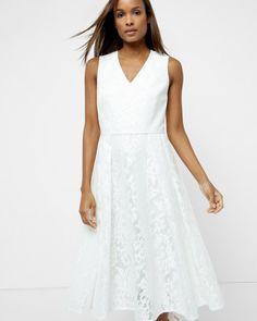 Mesh lace midi dress - Cream   Dresses   Ted Baker UK