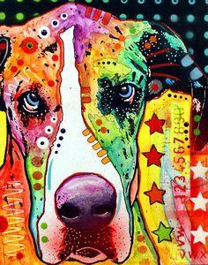 Great Dane Painting  - Great Dane Fine Art Print  colorful  best. Dog