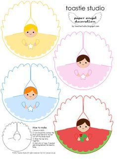 4 Free Printable Angels for First Communion Decorations. Great for Centerpieces, First Communion Decorations or First Communion Sou. Kids Crafts, Bible Crafts, Christmas Crafts For Kids, Christmas Activities, Christmas Printables, All Things Christmas, Holiday Crafts, Christmas Diy, Diy And Crafts