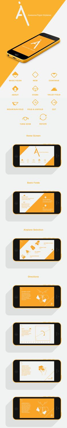 Useless app and wonderful design --Awesome Paper Airplanes App Mobile Application Design, Mobile Ui Design, App Ui Design, User Interface Design, Branding Design, Apps, Ui Design Inspiration, Ui Web, Best Logo Design