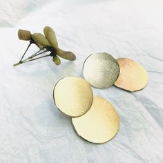 Two Brass Discs in one stud. With frosted finish. Silver posts and backs for comfort in your ear. Studs, It Is Finished, Brass, Stud Earrings, Posts, Silver, Earrings, Messages, Spikes