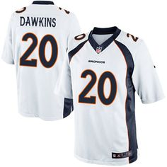 Nike Elite Brian Dawkins White Youth Jersey - Denver Broncos #20 NFL Road