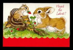 231-GC-Linda-K-Powell-CHIPMUNK-SQUIRREL-RABBIT-Fold-Over-Note-Card-Postalette