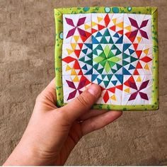 Throwback to my favorite mini mini quilt for the It took me hours to finish, made using the technique so it wasn't as hard as it looks. Tickled with how it turned out. Small Quilt Projects, Quilting Projects, Quilting Designs, Quilting 101, Mini Quilt Patterns, Paper Piecing Patterns, Patchwork Ideas, Small Quilts, Mini Quilts