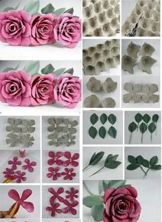 DIY Beautiful Upcycled Roses from Egg Carton Box Egg Carton Art, Egg Carton Crafts, Carton Box, Toilet Paper Roll Crafts, Paper Crafts Origami, Recycled Art Projects, Recycled Crafts, Paper Flowers Diy, Flower Crafts
