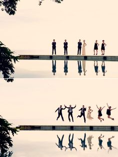 I would have the top half of the picture of the bridal party just standing and their reflection in the water be of them jumping