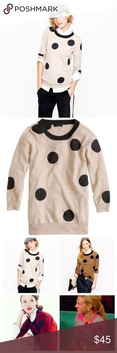 J. Crew Tippi Crewneck in Polka Dot J. Crew Tippi Sweater in Polka Dot.  3/4 Sleeve.  Good condition.  Merino Wool.  Bin D4. J. Crew Sweaters Crew & Scoop Necks