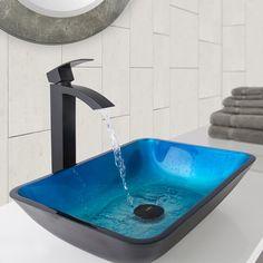 41f6d60e161 VIGO Rectangular Turquoise Water Glass Vessel Sink and Duris Bathroom  Vessel Faucet in Matte Black Lavender