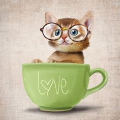 A funny small cat in a big cup on a rustic background (poster 6x6) Illustration fine art giclée print.. $15.00, via Etsy.