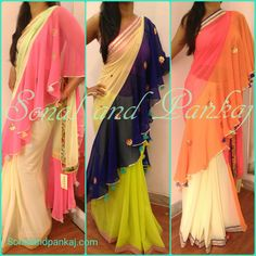 New concept  drapes saree  with blouse fabricsInbox for prices and bookings or whatsapp at +919669166763  10 November 2016