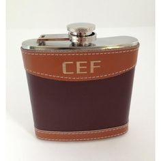 Leather #Flask Two Tone Style Personalized Personalized leather flask is just what you are looking for.  The two tone style is classy and unique.  It looks great with your i...
