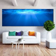 Ocean Deep Canvas Wall Art, White Sunbeams Through Water Panoramic Can – Dwallart Abstract Wall Art, Canvas Wall Art, Canvas Prints, Outdoor Sofa, Outdoor Furniture, Outdoor Decor, Ocean Underwater, Large Metal Wall Art, Ocean Deep
