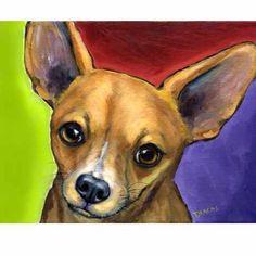 Chihuahua 8x10 Dog Art Print, Bright, by Dottie Dracos | LarkStudios - Print on ArtFire
