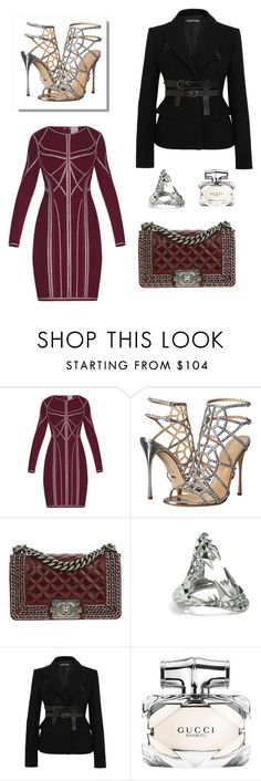 """""""Untitled #127"""" by joanna-tabakou ❤ liked on Polyvore featuring Hervé Léger, Sergio Rossi, Chanel, Kasun, Tom Ford and Gucci"""