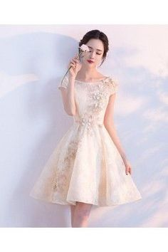 Sale Trendy Prom Dresses A-Line, Champagne A-line Tulle Lace Short Prom Dress, Champagne Evening Dress High Low Prom Dresses, A Line Prom Dresses, Cheap Prom Dresses, Dresses For Teens, Party Dresses, Quinceanera Dresses Short, Junior Prom Dresses Short, Cheap Gowns, Long Dresses