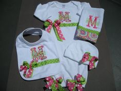 Bring Home Baby Boys R Gross Layette Gown, Bib, Burp Cloth and Beanie Cap with free monogram