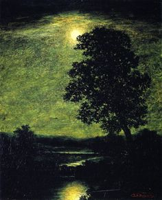 I love moody paintings with trees.   Moonlight (Ralph Albert Blakelock - circa 1883-1889)