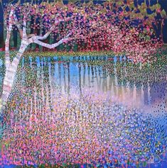 """""""Another lovely Springtime painting from Ton Dubbeldam. Dutch artist painting his own country with a nod to his hero Gustav Klimt. I've not posted this one before. Landscape Art, Landscape Paintings, Water Reflections, Dutch Artists, Dot Painting, Artist Painting, Gustav Klimt, Tree Art, Water Garden"""