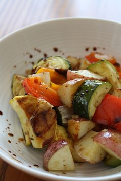 Roasted vegetables with balsamic glaze, I added roasted almonds too..awesome!