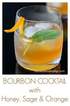 Bourbon Cocktail with Sage Bourbon Cocktail has honey, sage & orange. Perfect for a welcome drink at any gathering. Cocktails For Two, Cocktail Drinks, Cocktail Recipes, Alcoholic Drinks, Vintage Cocktails, Fall Cocktails, Craft Cocktails, Cold Drinks, Drink Recipes