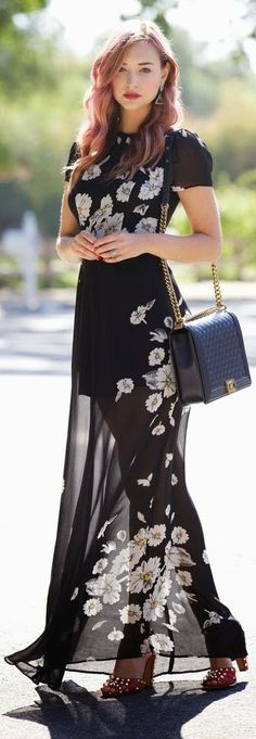Reformation Black Japanese Inspired Sheer Bottom White Floral Maxi Dress by Late Afternoon
