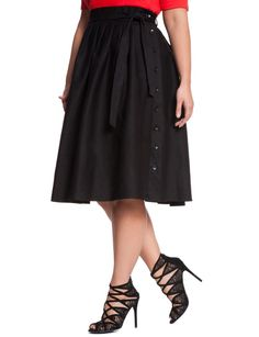 Circle Side Button Skirt Black