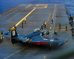 "A USN McDonnell Banshee from ""Blue Blasters"" Fighter Squadron moves into position to be launched off the carrier, USS Randolph, Us Navy Aircraft, Us Military Aircraft, Military Jets, Flight Deck, Navy Ships, Aircraft Carrier, War Machine, Fighter Jets, Airplanes"