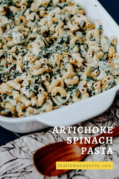 Easy and Delicious Artichoke Spinach Pasta – That Lemonade Life Creamy Spinach Dip, Spinach Artichoke Pasta, Feta Pasta, Creamed Spinach, Quick Vegetarian Meals, Health Dinner, Frozen Spinach, Pasta Recipes, Dinner Recipes