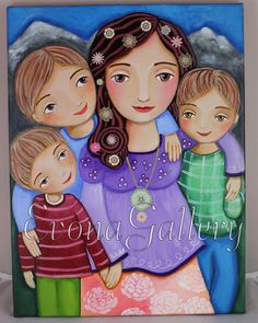 Lady Of Mount Carmel, Pastel Paper, Couple Drawings, Naive Art, Our Lady, Family Portraits, Folk Art, Catholic, Original Artwork