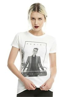 a37b3e04 Fitted white tee from Panic! At The Disco with a black & white Brendon Urie  photographic image design on front. Oh, hey Brendon. dry low Imported  Listed in ...