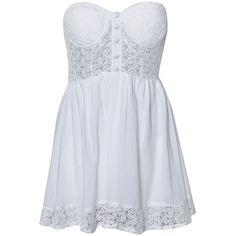 REVERSE Broderie Summer Dress ($29) ❤ liked on Polyvore featuring dresses, vestidos, robes, short dresses, short white dresses, embroidered mini dress, white cocktail dresses and short white cocktail dress