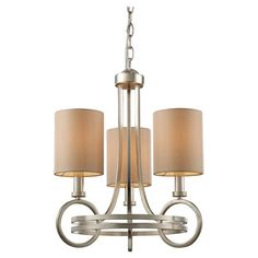 Art Deco-inspired chandelier with a silver leaf finish and cream fabric shades.   Product: Chandelier   Construction Mater...