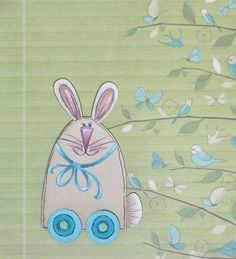 Hand Painted Bunny Lapel Pin or Brooch by ToletallyPainted on Etsy, $10.00