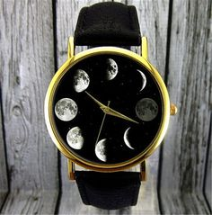 Montre Phase de lune Moon watch astronomie montre par AryasShoppe