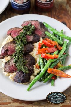 Another @NashOriginals #RestaurantWeek feature at Puckett's 5th & Church: our Argentinian hanger steak is drizzled with house-made chimichurri sauced, served over mashed potatoes and with a side of flat iron green beans. Delicious!