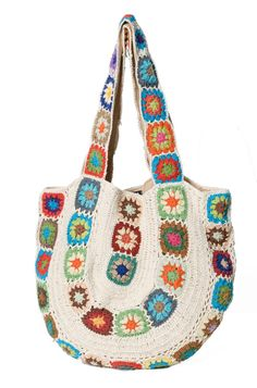 beautiful crochet bag from this japanese site - artesanato - - Crochet Purse Patterns, Crochet Tote, Crochet Handbags, Crochet Purses, Hippie Purse, Hippie Bags, Boho Hippie, Crochet Cushion Cover, Crochet Cushions