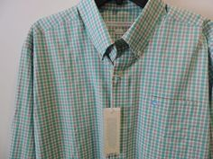 Southern Tide Skip Jack Tidal Wave Green Gingham Plaid Shirt SZ L NWT Fast Ship #SouthernTide #ButtonFront