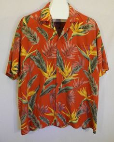 ec0452f4 Vtg Paradise Found Hawaiian Shirt Floral Leaves Tropical Wooden Buttons Red  XXL #ParadiseFound #Hawaiian