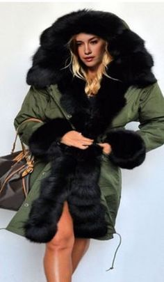 Cozy Jacket Fashion! Elegant Black and Khaki Green Noble Hooded Long Sleeve Black Faux Fur Design Coat #Elegant #Black #Faux #Fur #Hooded #Coat #Fashion