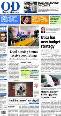 The front page for Tuesday, March 3, 2015: Utica has new budget strategy