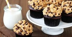 Chocolate cupcakes with chocolate chip cookie dough frosting.