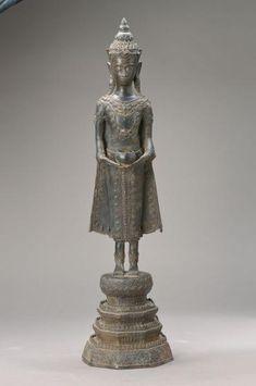 Standing Buddha Statue, Laos, Buddhist Art, Pedestal, It Cast, Sculpture, Shapes, Beautiful, Auction