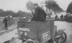 Belgian Minerva No 8 Armoured car Ww1 Minerva specifications Dimensions 4,90x1,75x2,3 m (16.1x5.9x7.6 ft) Total weight, battle ready 4 tons Crew 3-6 Propulsion 4-cyl Gas. Minerva 8L, 40bhp at 2500 rpm Speed 40 km/h (25 mph) Range 150 km (90 mi) Armament 1 x Hotchkiss Model 1909 machine-gun Armour Maximum 4 mm (0.15 in) Total production 35
