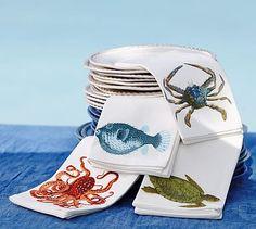 Great if you are visiting a sea lover.  Playa Sea Life Napkins, Mixed Set of 4 #potterybarn