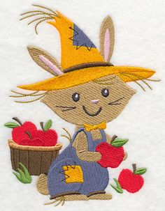 """Rabbit ScarecrowProduct ID:L6176 Size:4.86""""(w) x 6.35""""(h) (123.4 x 161.3 mm)Color Changes:11 Stitches:32573Colors Used:11     2 SIZES"""