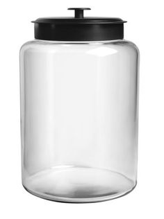 Anchor Hocking 2-1/2-Gallon Montana Jar with Black Metal Lid by Anchor Hocking. $20.95. Also available in 1-1/2-gallon capacity.. This Anchor Hocking 2-1/2-gallon Montana Jar is air-tight and has a metal cover. Perfect for countertop storage for any room.. This crystal clear glass canister is dishwasher safe. This jar keeps the contents air tight. On the table, in the kitchen, and around the home, Anchor Hocking offers a wide variety of high quality consumer glassware products...