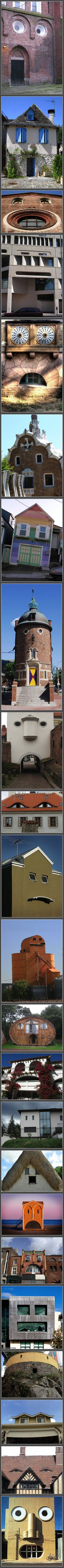 Buildings With Unintentionally Funny Faces -- these so make me laugh! Not sure if they are homes but architecture worthy of notice in any event. Unusual Buildings, Interesting Buildings, Things With Faces, Unusual Homes, Strange Places, Unique Architecture, Oui Oui, Funny Faces, Funny Pictures